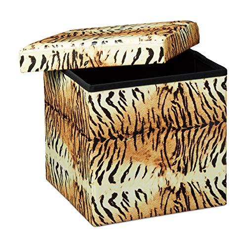 Relaxdays Tabouret pliant coffre de rangement pliable banc de stockage avec couvercle amovible 38 x 38 x 38 cm pouf en similicuir repose-pieds table appoint motifs tendances tigre jaune