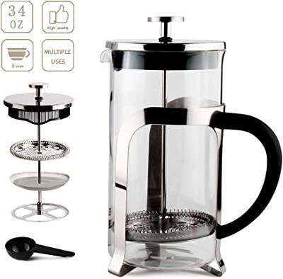 34OZ French Coffee Press Borosilicate Glass Heat Resistant Stainless Steel Espresso and Tea Maker 1 Liter/8Cups
