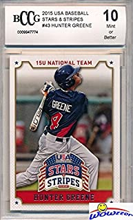 Hunter Greene 2015 Panini USA Baseball Stars & Stripes #43 ROOKIE Graded HIGH BECKETT 10 MINT! Awesome HIGH Grade Rookie of 2017 MLB #2 Pick! 102 MLB Fastball and Home Run Slugger! Wowzzer!