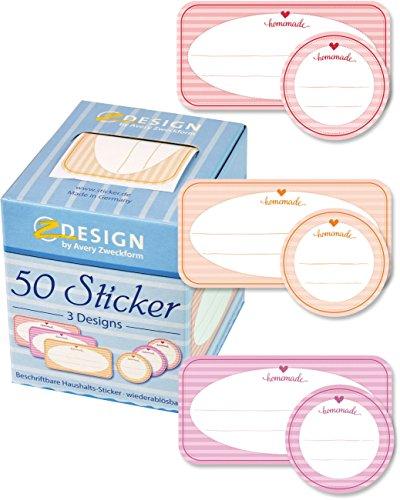 AVERY Zweckform 56820 Marmelade Sticker auf Rolle 50 Stück (Etiketten, Aufkleber für Selbstgemachtes, ablösbare Papiersticker 38 mm/38x75 mm im Spender, beschriftbar, Geschenk, Einmachetiketten)
