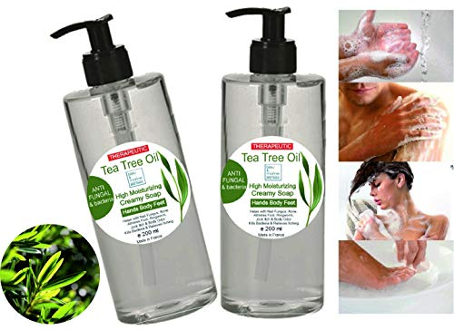 Jabón Pack Ahorro 2 x 200 ml Ultra Hidratante Terapéutico con Aceite de Árbol de Té Purificante Anti hongos Anti Acné Gel de Baño - Gel de Ducha