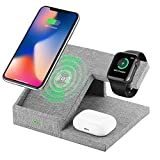 Lecone Supporto Caricatore Wireless 3 in 1 Stand per Apple Watch, Qi Wireless Caricatore Supporto di Ricarica Wireless Docking Station per Airpods iPhone 11/X/8 Plus/XS Max/XR/SE 2020 Iwatch 4/3/2/1
