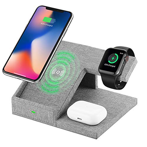 Lecone Supporto Caricatore Wireless 3 in 1 Stand per Apple Watch, Qi Wireless Caricatore Supporto di Ricarica Wireless Docking Station per Airpods iPhone 11 X 8 Plus XS Max XR SE 2020 Iwatch 4 3 2 1