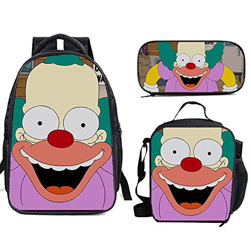 The Si-mps-ons School Backpack Set Bookbag with Lunch Bags Pencil Case Lightweight Travel for Kids Boys Girls