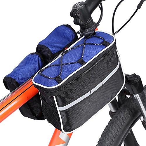 Sacoche Multi-Fonction 4 En 1 De Guidon Cadre Vélo VTT Sac Pochette Cyclisme Étanche Polyester Striure Réfléchissant avec Sangle Réglable et Housse de Pluie ( Couleur : Bleu )