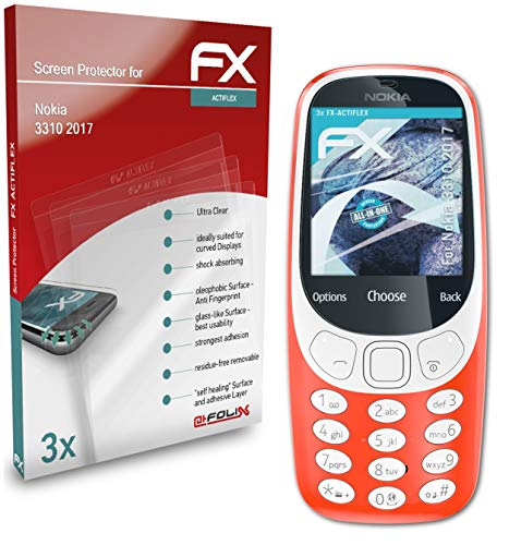 atFolix Schutzfolie kompatibel mit Nokia 3310 2017 Folie, ultraklare & Flexible FX Bildschirmschutzfolie (3X)