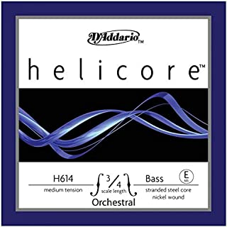 D'Addario Helicore Orchestral Bass Single E String, 3/4 Scale, Medium Tension