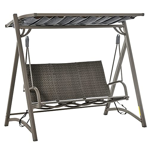 Outsunny 3-Sitzer Rattan Hollywoodschaukel Gartenschaukel mit verstellbares Sonnendach Schaukelbank Aluminium Braun 197 x 122 x 178 cm