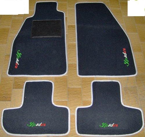 ALFA ROMEO SPIDER 916 du '95 au '06 tapis pour voiture noir avec bords gris perle-Lot complet de tapis de voiture sur mesure réalisé en Moquette avec broderie fil Tricolore blanc