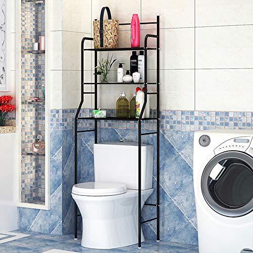 Etagère de Salle de Bain, Meuble de Rangement Au-Dessus des Toilettes WC ou Lave-Linge avec 3 Tablettes, en Métal Laqué 165 x 55 x 25cm(Noir)