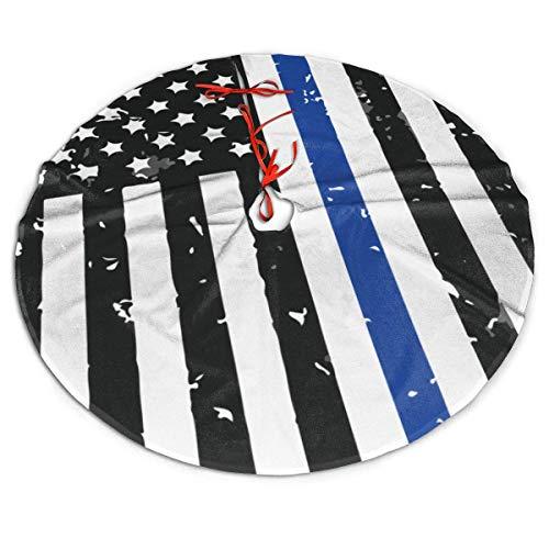 AEMAPE Falda de árbol de Navidad Falda de árbol de Navidad con Bandera Americana Blanca y Negra, Decoración de Fiesta de año Nuevo, 91Cm (36 Pulgadas)