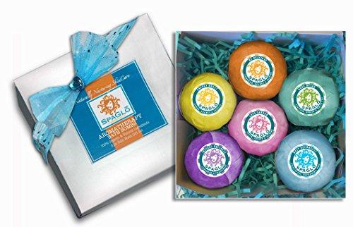 Bath Bombs Gift Set - 6 Organic Extra Large 4.5-5 oz ea, Bath Bomb Gift Sets