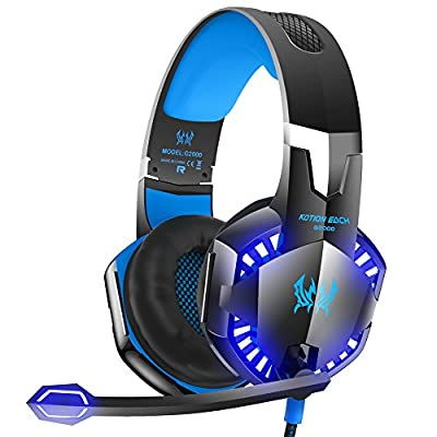VersionTECH. G2000 Stereo Gaming Headset for PC, Xbox One, PS4, Nintendo Switch, Wired Gaming Chat Headphones with 3D Surround Sound, Noise-Cancellation Microphone?Volume Control & LED Lights