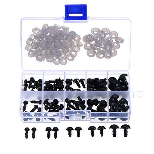 100 Stück 6 bis 12 mm Kunststoff Sicherheitaugen Schwarze Solide Augen mit Unterlegscheiben für Teddy, Bär, Puppe, Puppe und Handwerk