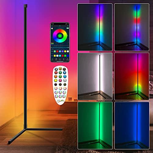 LED Stehlampe RGB Dimmbar Eck Stehlampe Stehlampen,Eck Standleuchte,Modern LED Stehleuchte mit Fernbedienung App-Steuerung Sync mit Musik Farbwechsel Lichtsaeule für Wohnzimmer Schlafzimmer 150cm