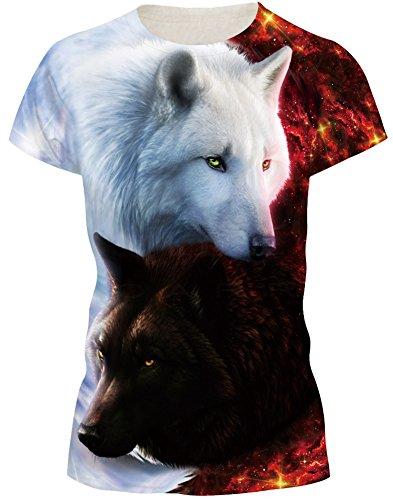 EUDOLAH Herren Bunt Galaxy T-Shirt Sport Rundhals Spaß Motiv Tops (M/Tag L, Engel & Teufel Wölfe)