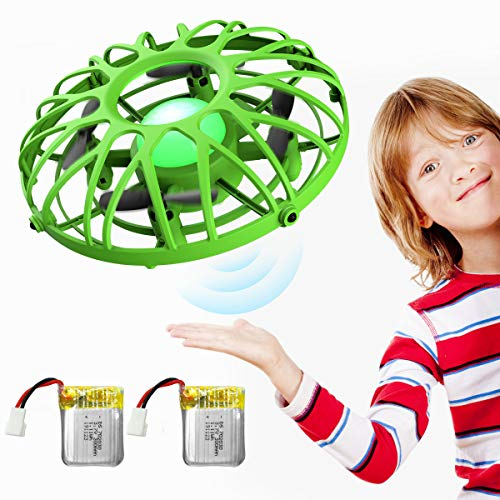 EACHINE UFO Flying Ball Drone for Kids, E111 Hand Operated Induction Levitation UFO Mini Drone Easy Play Indoor and Outdoor Scoot Hover Drone Helicopter Toy for Boys and Girls(2Pcs Batteries) (Green)