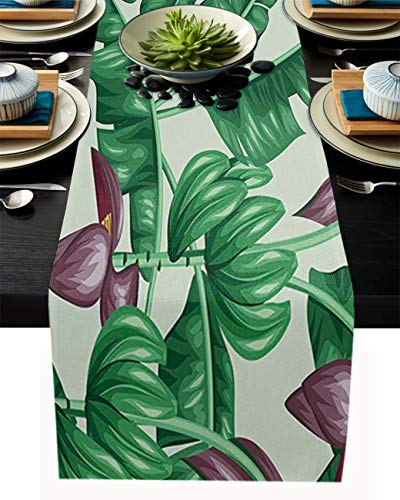 FAMILYDECOR Camino de mesa de arpillera de lino para mesas de comedor de 33 x 304 cm, diseño tropical de banano verde y flores para fiestas de vacaciones, cocina, decoración de boda