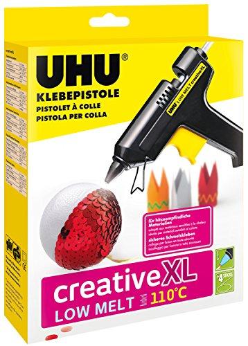UHU 48615 Klebepistole Low Melt 110°C Creative XL,NiedrigtemperaturpistolefürkreativesArbeiten-auchgeeignetfürhitzeempfindlicheMaterialien,inkl.4Patronen