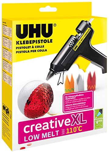 UHU Klebepistole Low Melt 110°C Creative XL, Niedrigtemperaturpistole für kreatives Arbeiten - auch geeignet für hitzeempfindliche Materialien, inkl. 4 Patronen