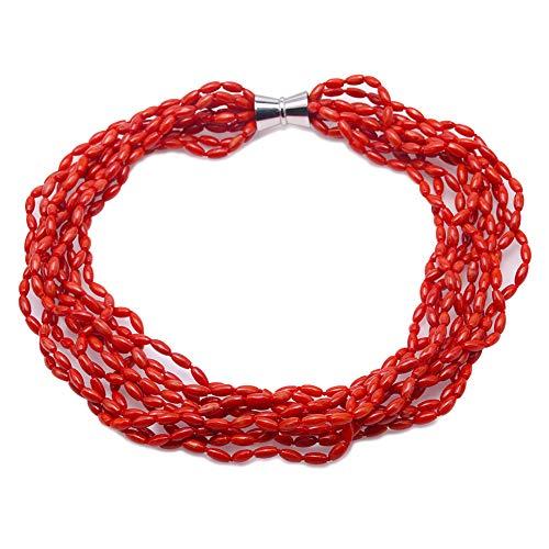JYX Collar de coral de 10 hebras de perlas múltiples para mujer, collar de coral rojo de arroz, 63 cm