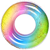 Danvren Glitter Pool Floats Tube 32.5 Inches Premium Swim Pool Rings River Tubes Heavy Duty Vinyl Flotation Toy for The Beach, Party, Vacation, UV Resistant Inflatables for Adults (Rainbow)