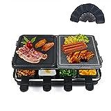 Raclette con Plancha de Aluminio y Piedra Natural, Multifunción Raclette 2 en 1, Raclette Parrilla para 8 Personas, 8 Sartenes, Antiadherente, Menos Aceite, Fácil de Limpiar, 1300W Negro
