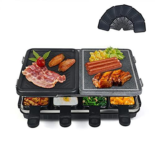 Raclette Grill mit Natursteinplatte und Grillplatte, Raclette 8 Personen, Multifunktion Raclette 2 In 1, Antihaftbeschichtet, Weniger Öl und Leicht zu Reinigen, 8 Pfännchen und 4 Spatel, 1300W Schwarz