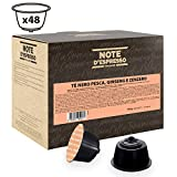 Note D'Espresso - Cápsulas de té negro con melocotón, ginseng y jengibre compatibles con cafeteras Dolce Gusto, 16g (caja de 48 unidades)