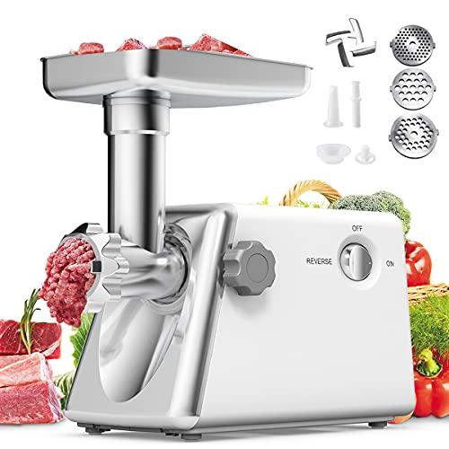 RELAX4LIFE Elektischer Fleischwolf 1300W, Wurstmaschine mit Fülltablett & Kebbe-Aufsatz & Stopfer & Wurstaufsatz & Messer & 3 Lochscheiben(3/5/7mm), Küchenmaschine mit Vor- und Rücklauffunktion