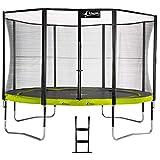 Kangui - Trampoline de Jardin Rond 430 cm + Filet de sécurité + échelle PUNCHI Vert 430