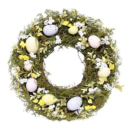 WSYW Guirnalda de Pascua artificial para colgar en la pared con flores mixtas para colgar en la pared de la puerta de Pascua y vacaciones para decoración de la pared del hogar