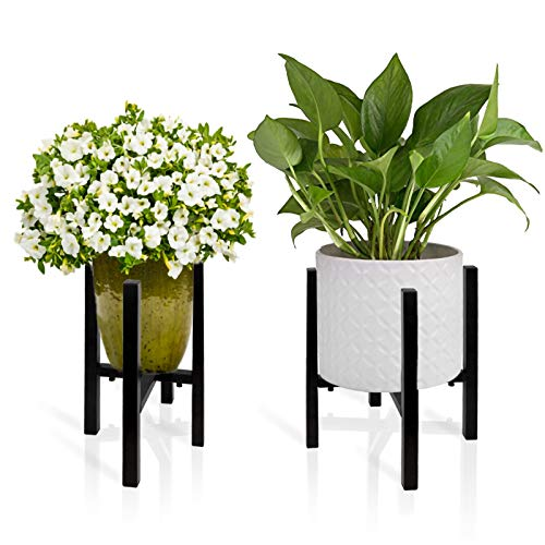 EAZY2HD 2 Pack Adjustable Metal Plant Stand Indoor,Mid Century Modern Plant Stand (14.7 inches in Height), Indoor & Outdoor Plant Stand Fits 9 to 14 Inch Pots (Planter and Pot Not Included)
