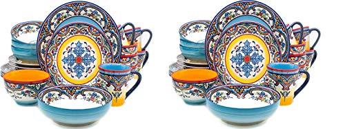 Euro Ceramica Zanzibar Collection Vibrant 20 Piece Oven Safe Stoneware Dinnerware Set, Service For 4, Spanish Floral Design, Multicolor (Twо Расk)