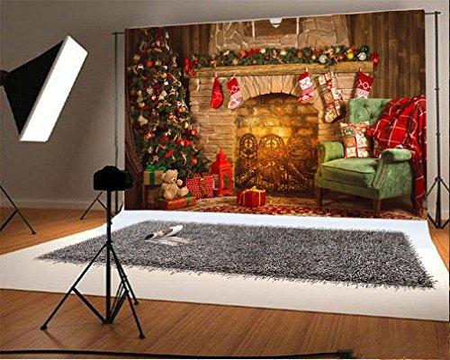 YongFoto 3x2m Vinilo Fondo de Fotografia Árbol de Navidad Chimenea Media de...