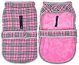 Morezi Abrigo para perro resistente al viento, forro polar grueso con tira reflectante, diseño de protección contra tormentas para perros pequeños, medianos y grandes, color rosa – XXL