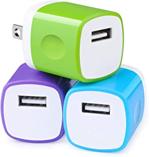 One Port USB Charger,Charging Base,3Pack 1A Wall Charger Travel Adapter Charger Plug Charging Block Cube Compatible with iPhone 11 Pro/11 Pro Max/XR/Xs/Max/X/8/7/6 Plus,Galaxy Note 10/9/8 S10/S9 Plus