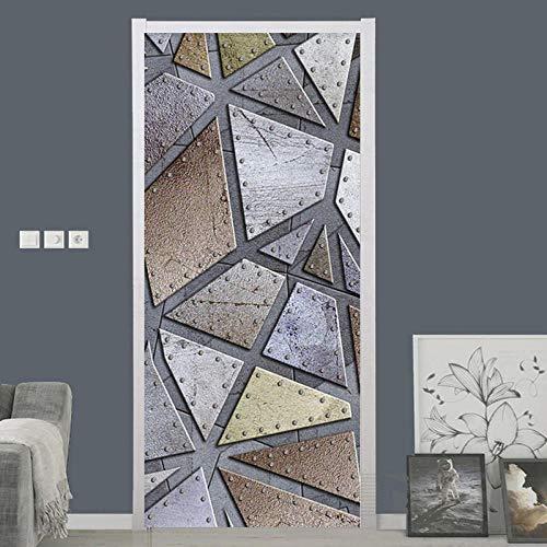 MZNVTD 3D Etiqueta De Puerta Autoadhesiva Extraíble Impermeable Geometría De Imitación De Metal Pegatinas De Pared para Dormitorio Oficina Cuarto De Niños Arte Moderno Decoración De Hogar 85X200Cm