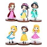 6pcs Mini figuras de princesa, Cupcake Toppers, decoración de pastel de princesa de cumpleaños, modelo de muñeca de princesa para niños, decoración de fiesta de bienvenida al bebé de cumpleaños