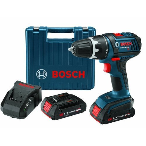 Factory-Reconditioned Bosch DDS180-02-RT 18V Cordless Lithium-Ion Compact Tough 1/2-in Drill Driver Kit with 2 Slim Pack Batteries