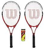 Wilson Lot de 2 raquettes de tennis Federer Adulte avec 3 balles de tennis, .