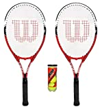 Wilson Federer - 2 Raquetas de Tenis para Adultos + 3 Pelotas de Tenis.