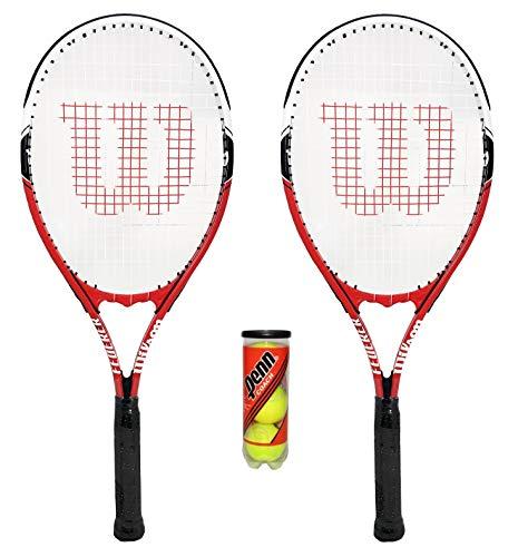 WILSON Federer Tennisschläger + 3 Tennisbälle für Erwachsene, 2 Stück.