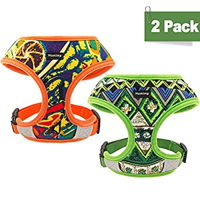HOMIMP Small Dog Harness Vest 2 Packs - Bohemian Style Pet Adjustable Harness, Outdoor Reflective Material for Small Dogs