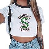 Magliette Tumblr Ragazza Riverdale Crop Top T-Shirt Estate Donna Canotta Maniche Corte Collo Rotondo Maglietta Moda Hip Pop Top Casuale Camicetta Camicia Ritagli Pullover (1151, M)