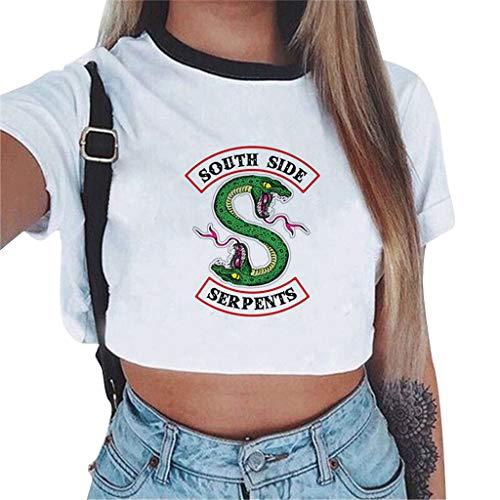 Magliette Tumblr Ragazza Riverdale Crop Top T-Shirt Estate Donna Canotta Maniche Corte Collo Rotondo Maglietta Moda Hip Pop Top Casuale Camicetta Camicia Ritagli Pullover (1151, S)