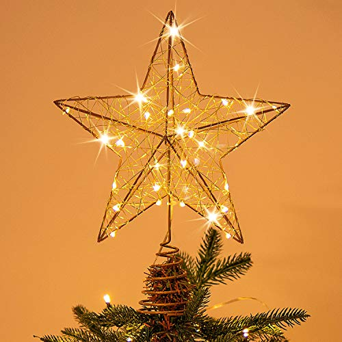 Rocinha Gold Christmas Tree Topper Star Lighted Tree Star Wire Star for Christmas Tree, 10 Inches Christmas Star Tree Topper with 30 LED Lights