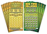Larkmo Prank Gag Fake Lottery Tickets - 8 Total Tickets, 4 of Each Winning Ticket Design, These Scratch Off Cards Look Super Real Like A Real Scratcher Joke Lotto Ticket, Win 10,000 or $50,000