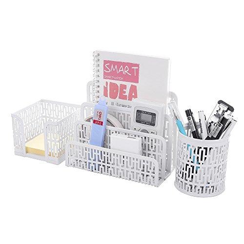 Crystallove Set of 3 Metal Mesh Office Desktop Supplies Organizer, White-Style 1