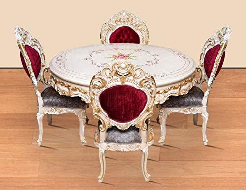 Casa Padrino Conjunto de Comedor Barroco Rojo Burdeos/Gris/Blanco/Oro - 1 Mesa de Comedor Redonda y 4 Sillas de Comedor - Magnífica Muebles de Comedor de Estilo Barroco